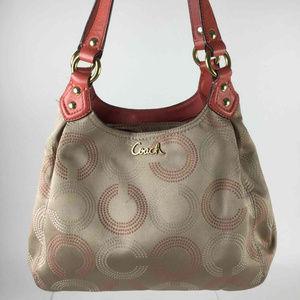🔥Coach PinkChampagne LogoJacquardLeatherTrim Bag